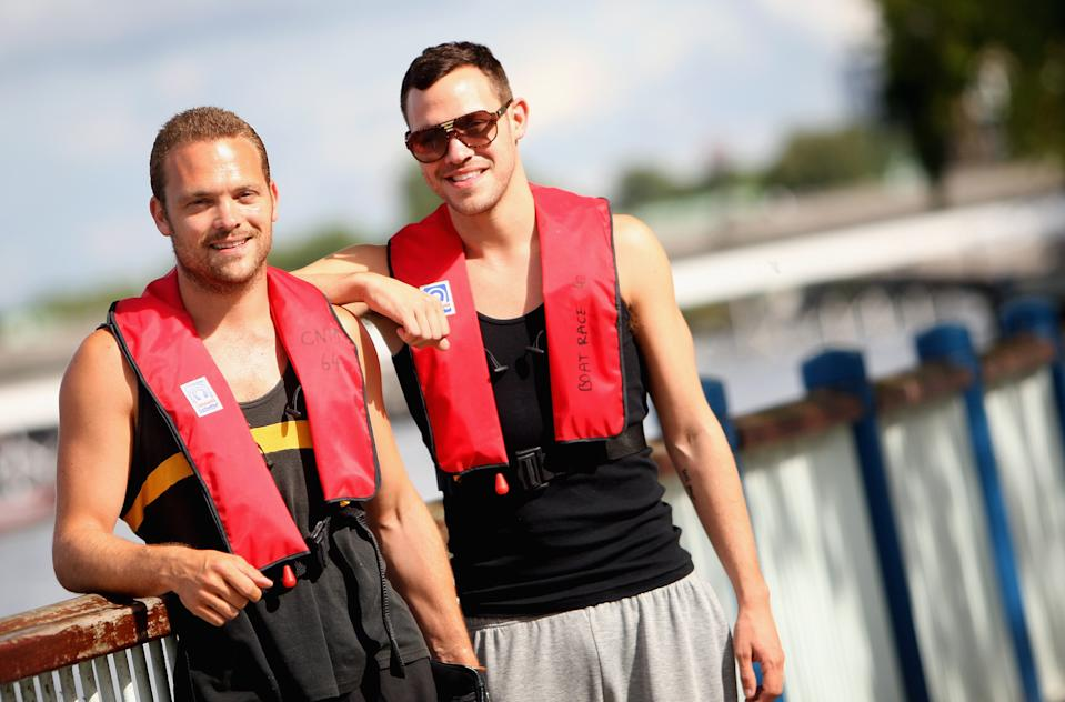 LONDON - AUGUST 02:  Singer Will Young (R) and Will Young's twin Brother Rupert Young (L) during the Thames Mood Foundation Pedalo Challange on the River Thames on August 2, 2008 in London, England.  (Photo by Dan Kitwood/Getty Images)