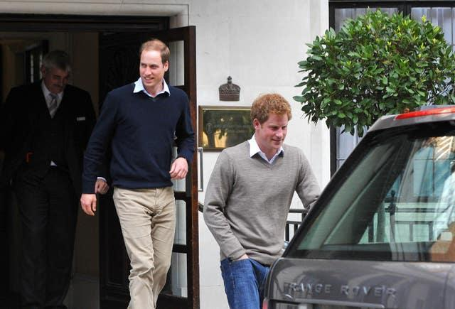 William and Harry leave the King Edward VII Hospital