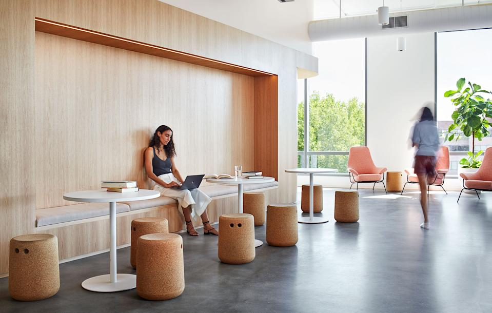 Modus stools and Hem chairs are easily rearranged for all-team meetings.