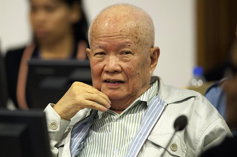 This photo released by the Extraordinary Chamber in the Courts of Cambodia shows former Khmer Rouge leader head of state Khieu Samphan in the courtroom in Phnom Penh on July 30, 2014