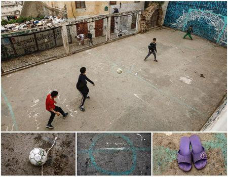 A combination picture shows boys playing soccer (top), and details of a football, a pitch and sandals, in the old city of Algiers Al Casbah, Algeria, May 5 - May 9, 2018. REUTERS/Zohra Bensemra
