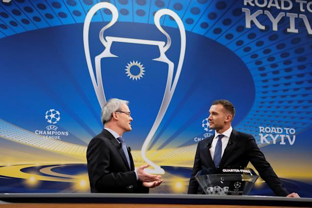 Soccer Football - Champions League Quarter-Final Draw - Nyon, Switzerland - March 16, 2018 UEFA competitions director Giorgio Marchetti with Andriy Shevchenko during the draw REUTERS/Pierre Albouy