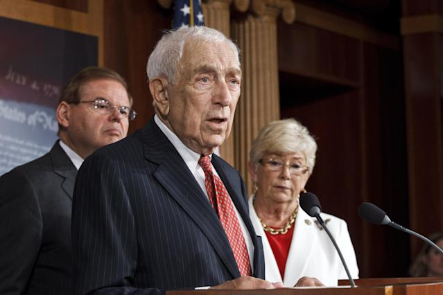 Sen. Frank Lautenberg, D-N.J., center, leads a news conference on Capitol Hill in Washington, July 24, 2012, to criticize the sale of high-capacity magazines for assault rifles that are sold to the public. He is joined by Sen. Robert Menendez, D-N.J., left, and Rep. Carolyn McCarthy, D-N.Y. (Photo: J. Scott Applewhite/AP)