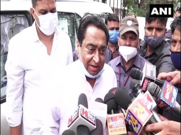 Kamal Nath speaking to reporters in Bhopal on Friday.