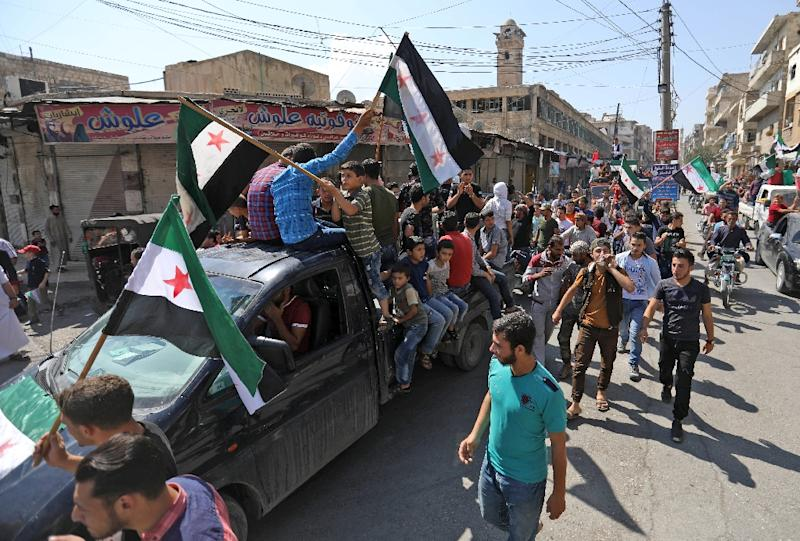 Around three million people live in Idlib and surrounding rebel territory, including foreigners who have joined the war against the Assad regime (AFP Photo/OMAR HAJ KADOUR)