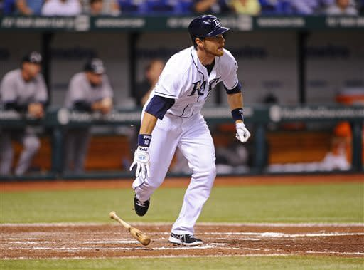 Tampa Bay Rays Ben Zobrist takes off after hitting a two-run double off of New York Yankees starting pitcher Andy Pettitte during the fifth inning of a baseball game Wednesday, April 24, 2013, in St. Petersburg, Fla. (AP Photo/Brian Blanco)