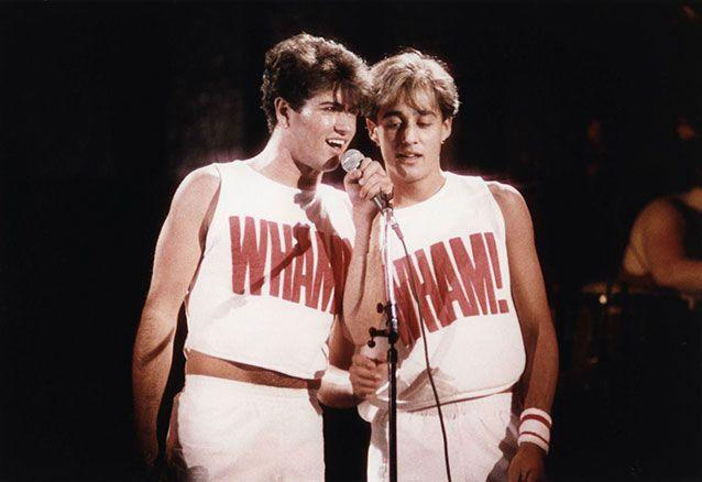 George Michael (left) and Andrew Ridgeley (right) in Wham.