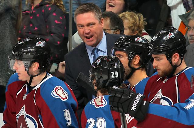 DENVER, CO - JANUARY 04: Head coach Patrick Roy of the Colorado Avalanche leads his team against the San Jose Sharks at Pepsi Center on January 4, 2014 in Denver, Colorado. (Photo by Doug Pensinger/Getty Images)