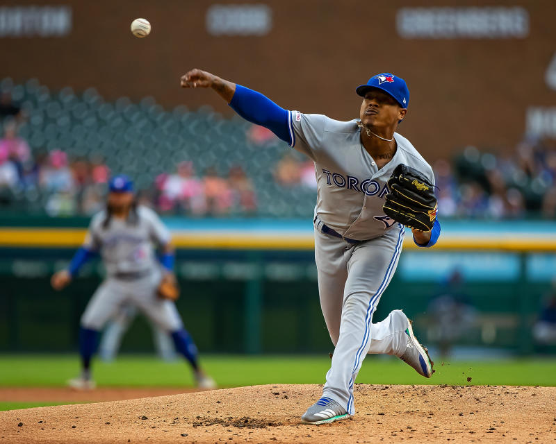 DETROIT, MI - JULY 19: Starting pitcher Marcus Stroman #6 of the Toronto Blue Jays pitches in the first inning against the Detroit Tigers during a MLB game at Comerica Park on July 19, 2019 in Detroit, Michigan. (Photo by Dave Reginek/Getty Images)