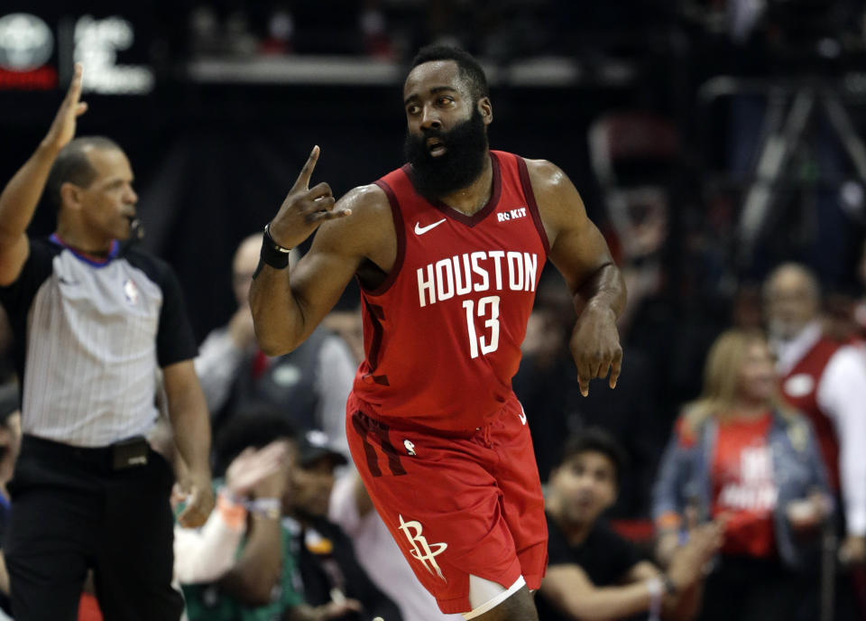 Houston Rockets' James Harden (13) celebrates a basket against the Golden State Warriors during the first half in Game 6 of a second-round NBA basketball playoff series, Friday, May 10, 2019, in Houston. (AP Photo/Eric Gay)
