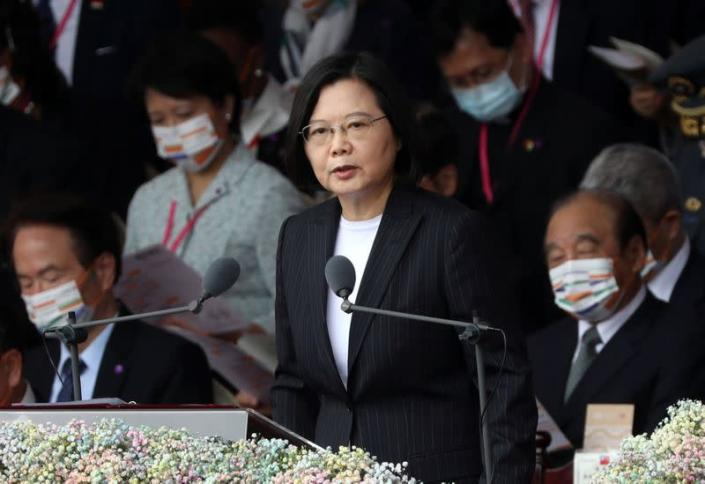 Taiwan President Tsai Ing-wen delivers a speech during National Day celebrations in front of the Presidential Building in Taipei