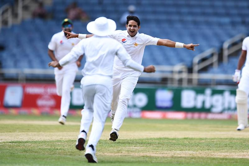 Pakistan's Mohammad Abbas (C) celebrates dismissing West Indies' Kraigg Brathwaite on day one of the first Test match against West Indies at in Kingston, Jamaica, on April 21, 2017