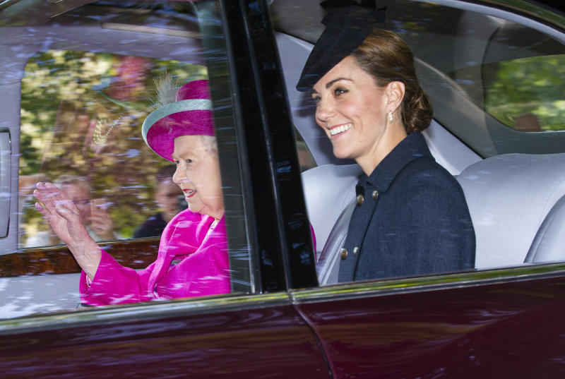 CRATHIE, ABERDEENSHIRE - AUGUST 25: Queen Elizabeth II and Catherine, Duchess of Cambridge are driven to Crathie Kirk Church before the service on August 25, 2019 in Crathie, Aberdeenshire. Queen Victoria began worshiping at the church in 1848 and every British monarch since has worshiped there while staying at nearby Balmoral Castle (Photo by Duncan McGlynn/Getty Images)