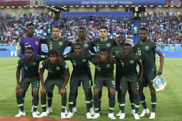 Nigeria players pose for the media prior the group D match between Croatia and Nigeria at the 2018 soccer World Cup in the Kaliningrad Stadium in Kaliningrad, Russia, Saturday, June 16, 2018. Upper row from left: Nigeria goalkeeper Francis Uzoho, William Ekong, Wilfred Ndidi, Leon Balogun, Chidozie Awaziem and John Obi Mikel, lower row from left, Bryan Idowu, Alex Iwobi, Odion Ighalo, Abdullahi Shehu and Oghenekaro Etebo. (AP Photo/Czarek Sokolowski)