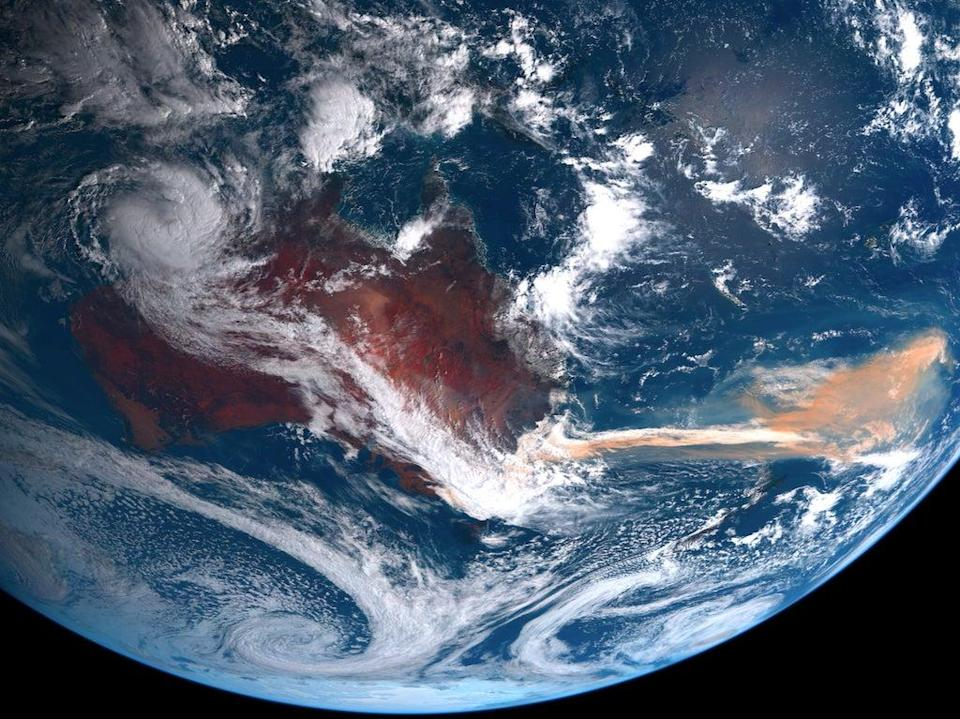 A satellite image shows smoke from the 2019-20 Australian wildfires covering parts of the Southern Ocean (Japan's National Institute of Information and Communication Technology)