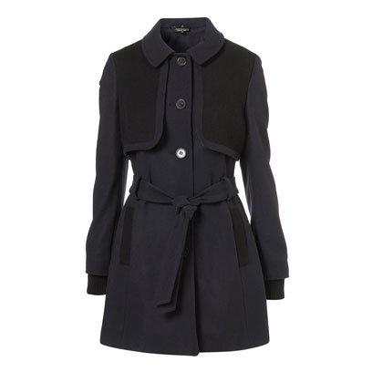 Navy belted coat by Topshop