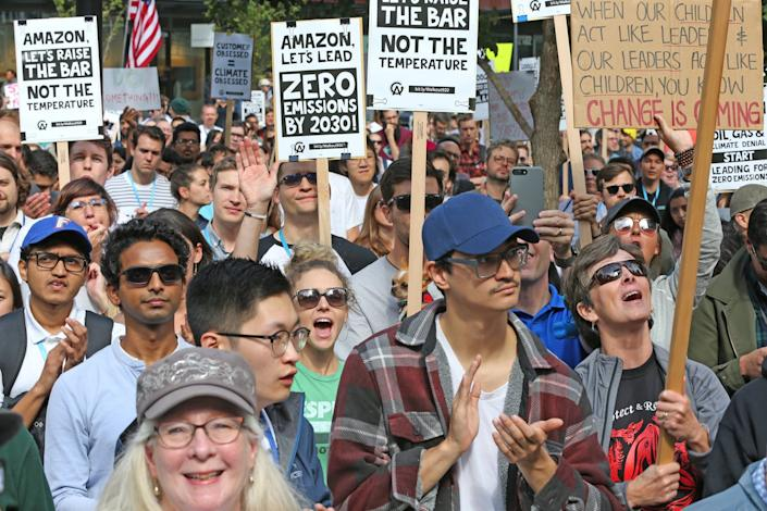 """<span class=""""caption"""">Amazon and other tech employees staged a walkout during the Global Climate Strike in 2019, another example that many people prefer to work for companies that have a higher purpose.</span> <span class=""""attribution""""><span class=""""source"""">Karen Ducey/Getty Images</span></span>"""