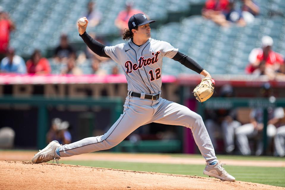 Tigers pitcher Casey Mize delivers during the first inning on Sunday, June 20, 2021, in Anaheim, California.