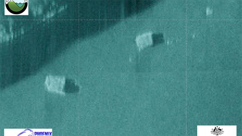 Claims these two boxes found on the bottom of the Indian ocean have been denied. Photo: https://www.atsb.gov.au/