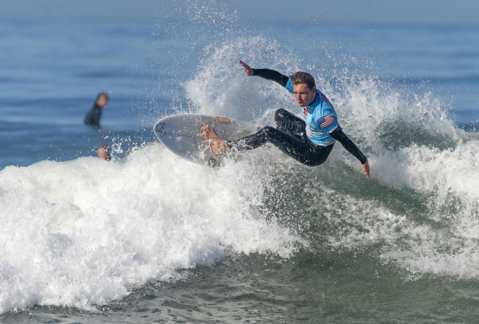 SAN CLEMENTE, CA - APRIL 30: Ben Brantell of San Clemente surfs during a practice session with the USA Surfing junior team at T-Street beach in San Clemente, CA on Friday, April 30, 2021. The surfers were preparing for a USA Surfing Prime event on Saturday and Sunday. (Photo by Paul Bersebach/MediaNews Group/Orange County Register via Getty Images)