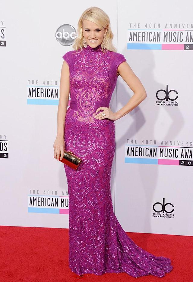 LOS ANGELES, CA - NOVEMBER 18: Recording artist Carrie Underwood arrives at The 40th American Music Awards at Nokia Theatre L.A. Live on November 18, 2012 in Los Angeles, California. (Photo by Jon Kopaloff/FilmMagic)