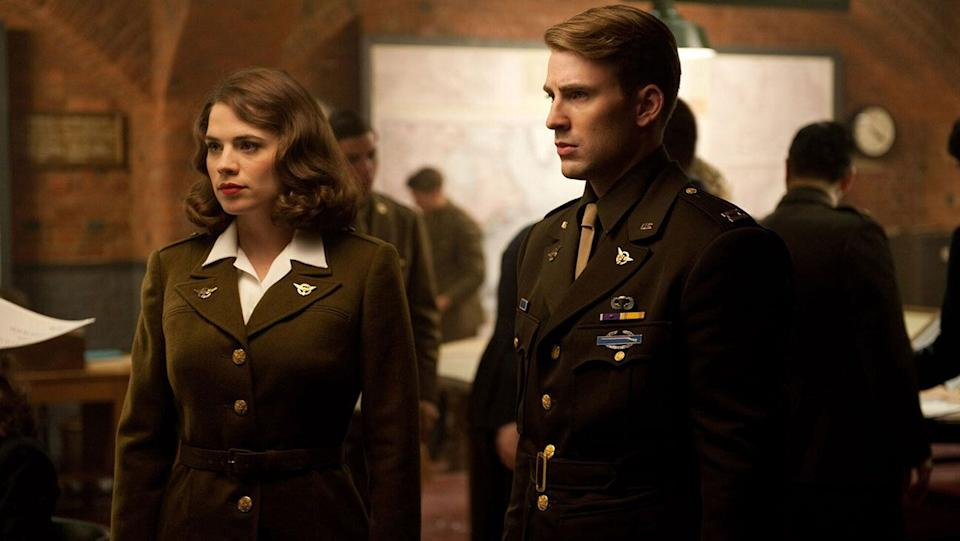 Hayley Atwell as Peggy Carter and Chris Evans as Steve Rogers in Captain America: The First Avenger (2011) (Credit: Marvel)