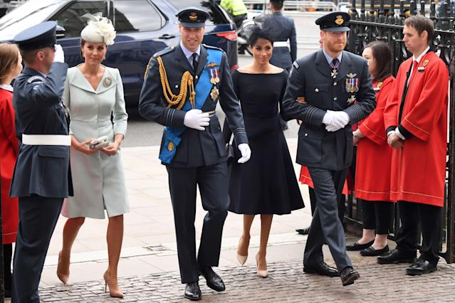 Kate Middleton and Meghan Markle joined the princes for a service at Westminster Abbey. (Photo: Chris J. Ratcliffe/AFP)