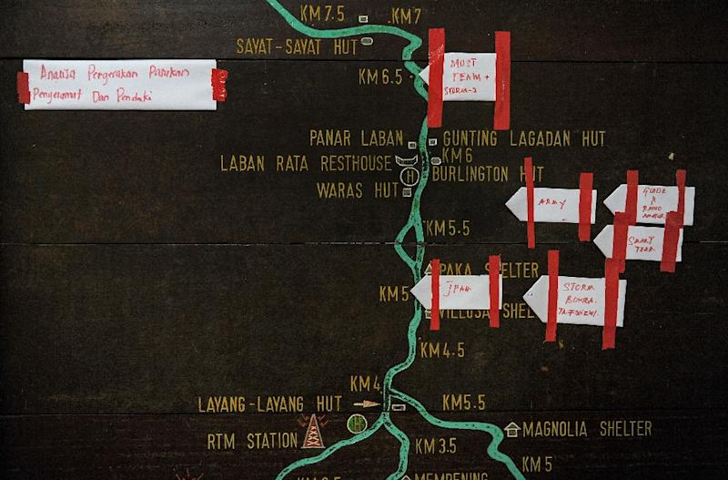 Pieces of paper showing various Malaysian rescue teams mark their current positions on a summit trail information board, heading towards Mount Kinabalu (AFP Photo/Mohd Rasfan)