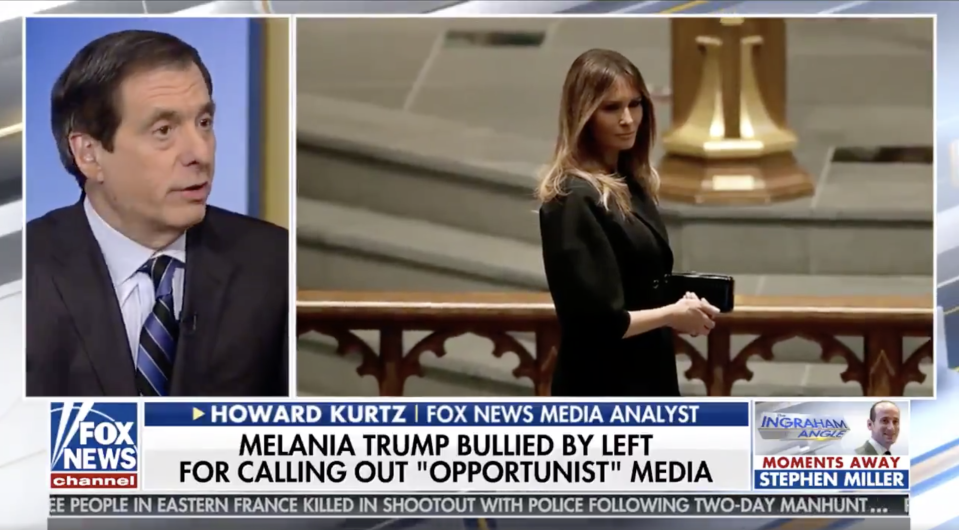 "Howard Kurtz points out the ""particularly brutal"" treatment of Melania Trump. (Photo: Fox News)"