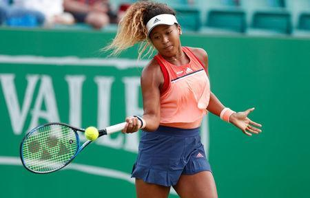 Tennis - WTA International - Nature Valley Open - Nottingham Tennis Centre, Nottingham, Britain - June 13, 2018 Japan's Naomi Osaka in action during her second round match against Denisa Allertova of the Czech Republic Action Images via Reuters/Peter Cziborra