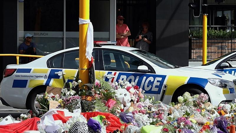 Flowers in Christchurch after the shootings in March 2019