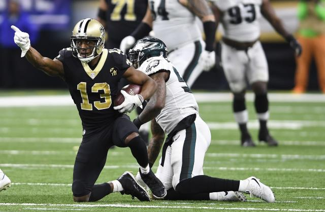 New Orleans Saints wide receiver Michael Thomas (13) celebrates a first down reception against the Eagles. (AP)
