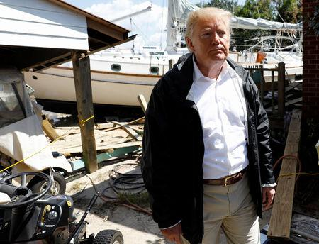 U.S. President Donald Trump participates in a tour of Hurricane Florence damage in New Bern, North Carolina, U.S., September 19, 2018. REUTERS/Kevin Lamarque