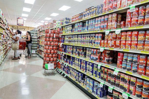 PHOTO: Canned goods fill the aisle in a supermarket in Miami's Little Havana, May 15, 2018. (UIG via Getty Images, FILE)