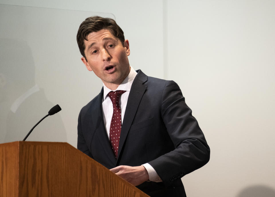 Minneapolis Mayor Jacob Frey speaks at a press conference about public safety on April 19, 2021 in St. Paul, Minnesota. Closing statements were heard today in the trial of Derek Chauvin, the former Minneapolis Police officer is charged with multiple counts of murder in the death of George Floyd. (Stephen Maturen/Getty Images)