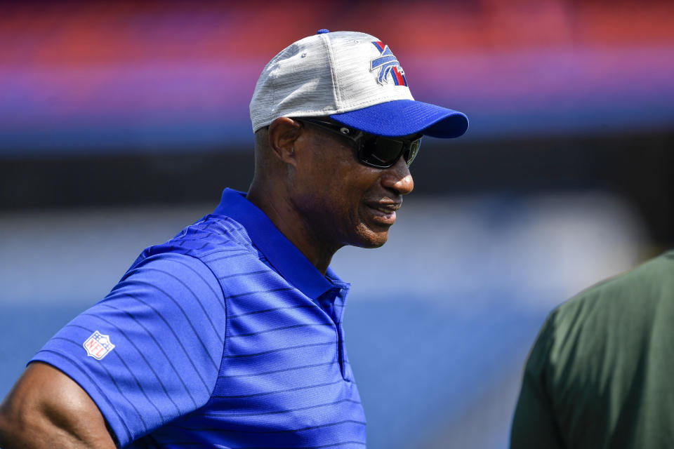 FILE - Buffalo Bills defensive coordinator Leslie Frazier is shown on the field before a preseason NFL football game against the Green Bay Packers in Orchard Park, N.Y., in this Saturday, Aug. 28, 2021, file photo. Washington Football Team's game at the Buffalo Bills on Sunday, Sept. 26 will feature a reunion of coaching colleagues. Washington coach Ron Rivera, Bills coach Sean McDermott and defensive coordinator Leslie Frazier all worked on Andy Reid's first staff with the Philadelphia Eagles in 1999.(AP Photo/Adrian Kraus, File)