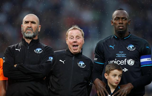 Soccer Football - Soccer Aid 2018 - England v Soccer Aid World XI - Old Trafford, Manchester, Britain - June 10, 2018 World XI's Eric Cantona, Harry Redknapp and Usain Bolt before the match REUTERS/Phil Noble