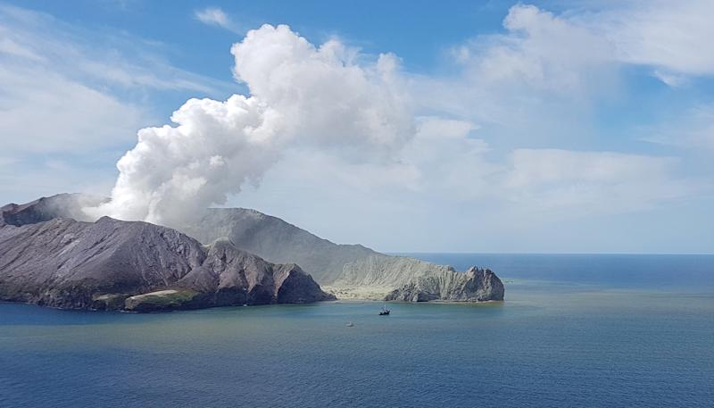 Pictured is smoke from a volcano on White Island in New Zealand.