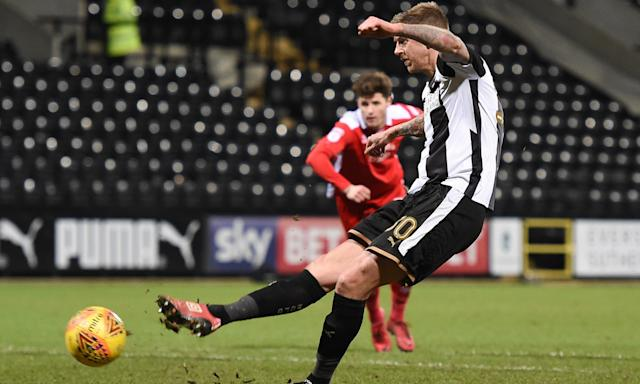 Jonathan Stead scores Notts County's equalising goal against Crawley Town.