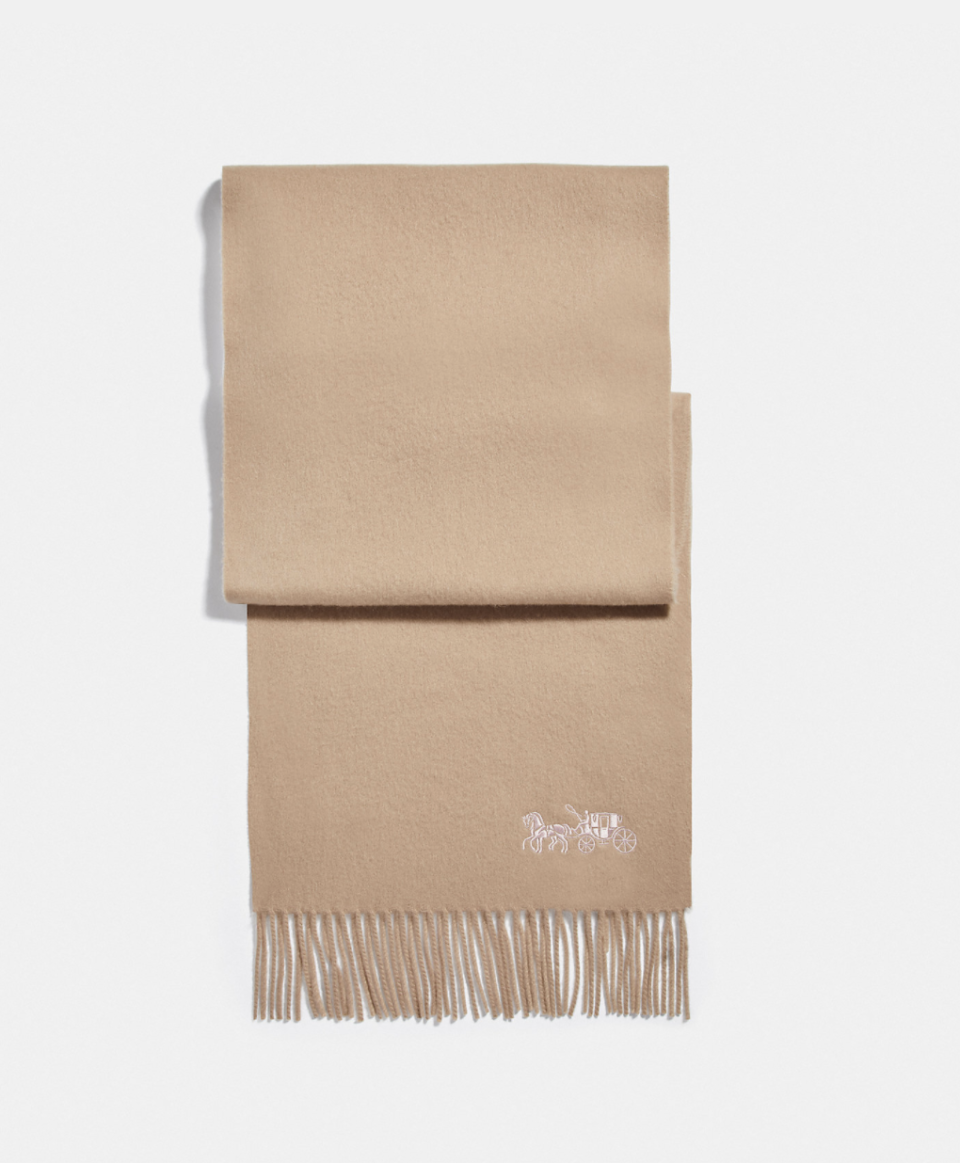 Embroidered Horse And Carriage Cashmere Muffler in beige(Photo via Coach Outlet)