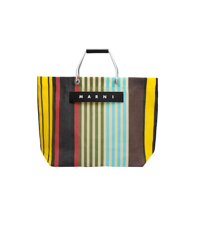 "<p>Happy Market Tote Bag, $110, <a href=""http://www.marni.com/us/shop-online/unisex/marni-market-bags"" rel=""nofollow noopener"" target=""_blank"" data-ylk=""slk:marni.com"" class=""link rapid-noclick-resp"">marni.com</a> (will be restocked on June 6). </p>"
