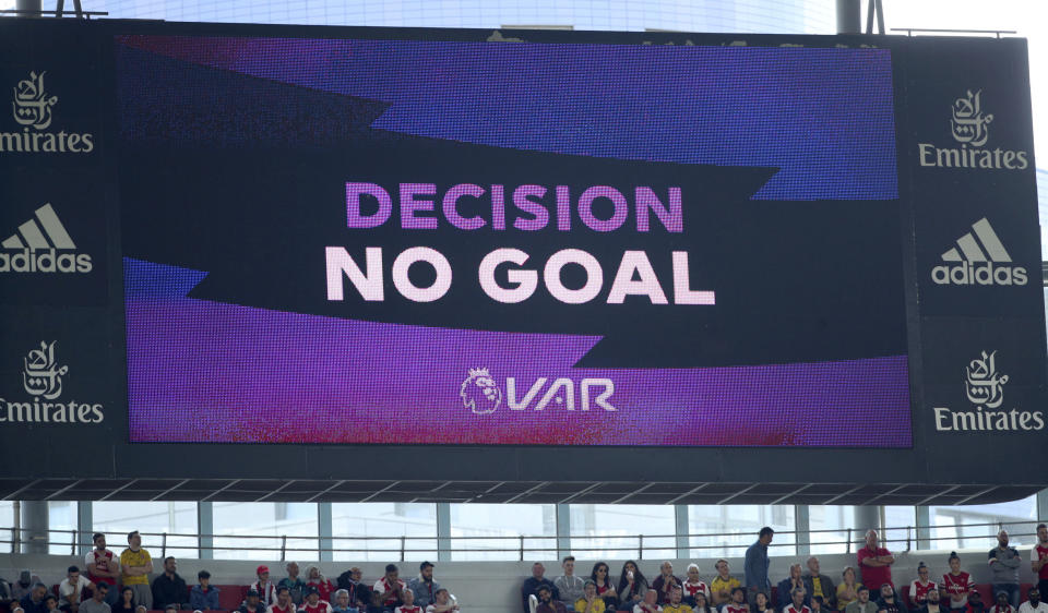 The VAR Referral screen shows a no goal decision, during the English Premier League soccer match between Arsenal and Burnley FC, at The Emirates Stadium, in London, Saturday, Aug. 17, 2019. (Yui Mok/PA via AP)