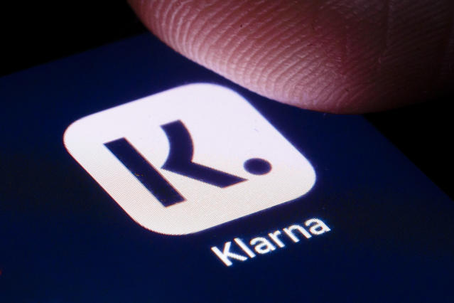 The logo of Swedish payment provider Klarna is shown on the display of a smartphone. (Thomas Trutschel/Photothek via Getty Images)