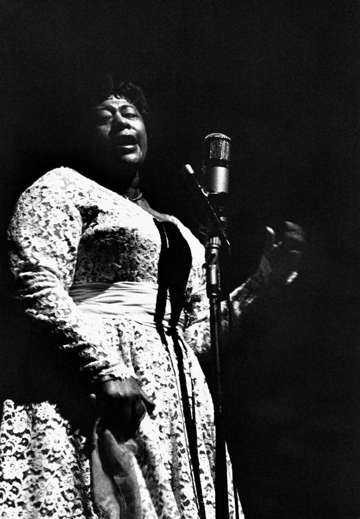 """<p>Legendary jazz singer and """"First Lady of Song,"""" Ella Fitzgerald, shines on stage at L'Olympia, one of France's most iconic concert venues.</p>"""