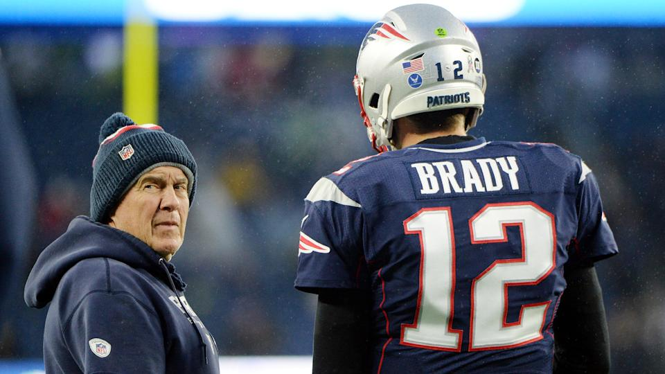 FOXBOROUGH, MASSACHUSETTS - NOVEMBER 24: Head coach Bill Belichick of the New England Patriots talks with Tom Brady #12 before the game against the Dallas Cowboys at Gillette Stadium on November 24, 2019 in Foxborough, Massachusetts. (Photo by Kathryn Riley/Getty Images)