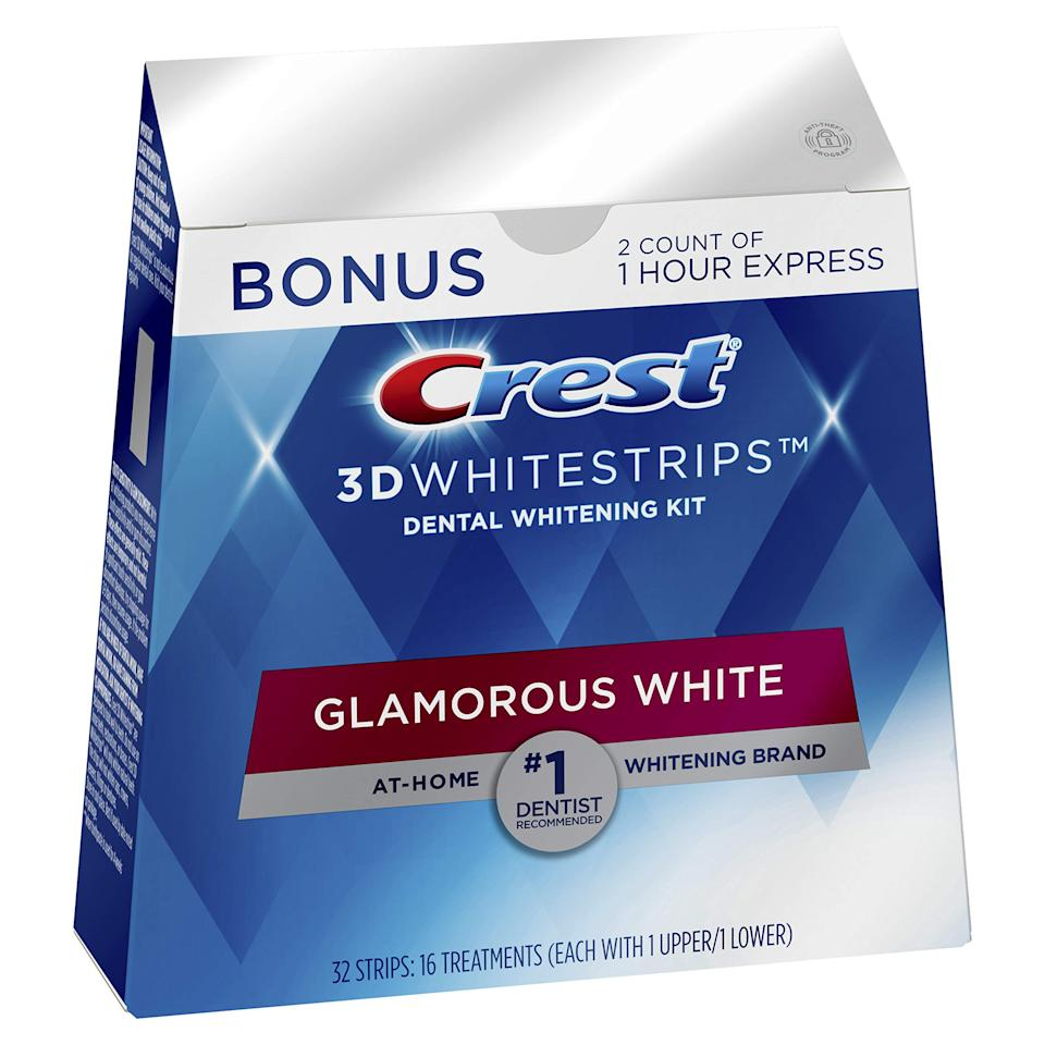 "<h3>Crest 3D Whitestrips Glamorous White</h3><br>It's a go-to for a reason. ""They contain hydrogen peroxide, which is the major ingredient that whitens teeth by breaking down stains on the molecular level,"" says Dr. Kantor. ""The bleach within the strips remains in contact with the tooth enamel long enough to deliver noticeable results.""<br><br><strong>Crest</strong> 3D Whitestrips Glamorous White, Teeth Whitening Kit, $, available at <a href=""https://amzn.to/2UxetXK"" rel=""nofollow noopener"" target=""_blank"" data-ylk=""slk:Amazon"" class=""link rapid-noclick-resp"">Amazon</a>"