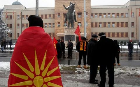 The name change deal has also triggered protests in Macedonia - Credit: AP Photo/Boris Grdanoski