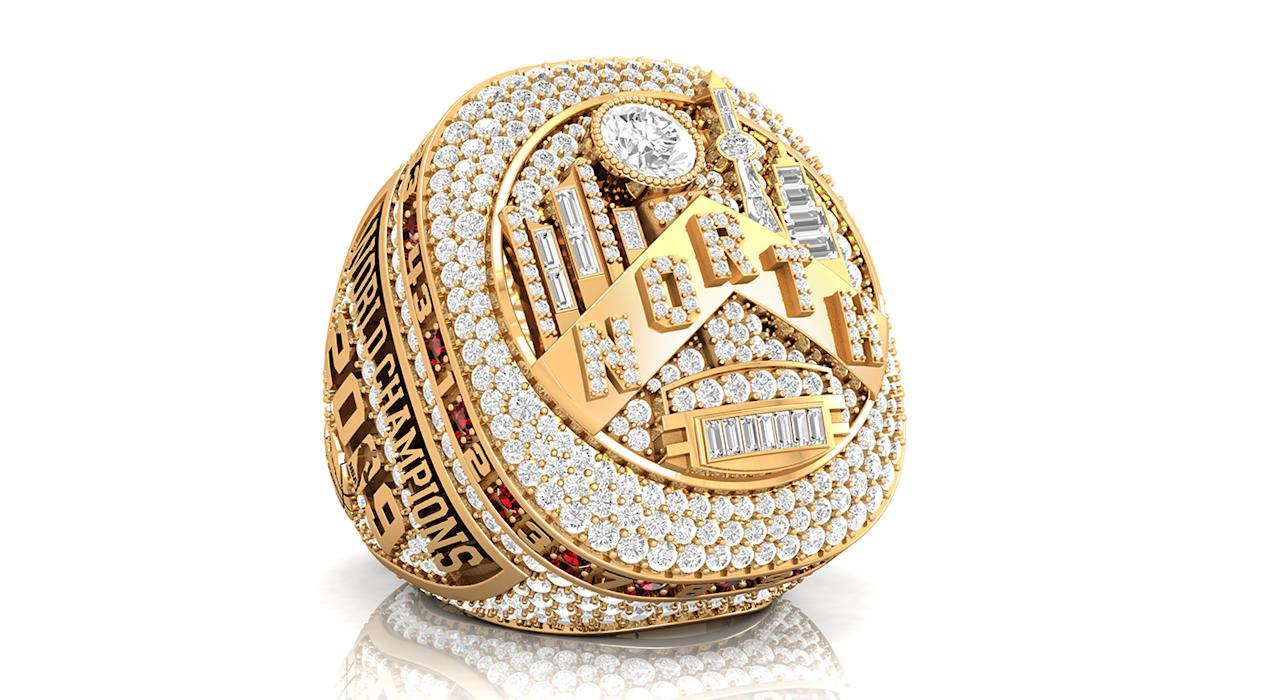 Toronto's championship ring features 74 diamonds — one for each victory last season. (THE CANADIAN PRESS/HO, Baron Rings)