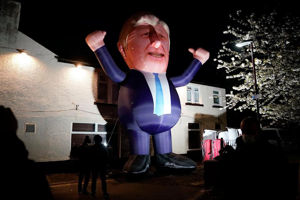 A 30ft inflatable Boris Johnson erected outside Mill House Leisure Centre in Hartlepool, where votes are being countedPA