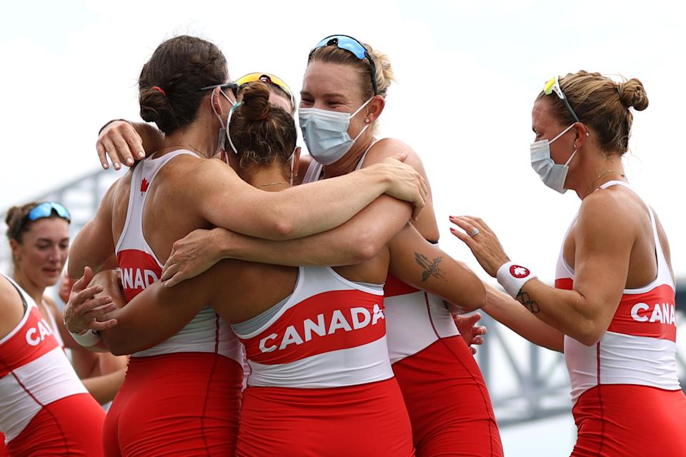 TOKYO, JAPAN - JULY 30:  Team Canada celebrates winning the gold medal during the Women's Eight Final A on day seven of the Tokyo 2020 Olympic Games at Sea Forest Waterway on July 30, 2021 in Tokyo, Japan. (Photo by Naomi Baker/Getty Images)